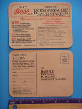 1988 Beer Coaster Bar Mat ~*~ Enjoy BASS Ale ~ British Sporting Life Sweepstakes