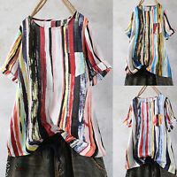 Womens Stripe Pocket Short Sleeve T-Shirt Hippie Casual Summer Tee Tops Blouse