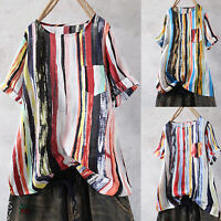 Plus Size Women's Summer Striped Tie Dye Blouse Loose Office Tops Tunic T Shirts