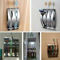 Stainless Steel Toothpaste Dispenser 2/3Position Toothbrush Holder Wall Mount