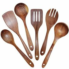Wooden Utensils Set of 6, Large Kitchen Cooking Utensil for Non Stick Cookware,
