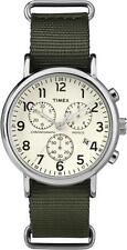TW2P71400 Timex Weekender Mens Watch Quartz White Dial Green Nylon TW2P714009J