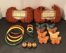 Vtg Macrame Lot 8 Ceramic Butterflies 9 Marbella 5�to 2� Ring Bead Macrame Cord
