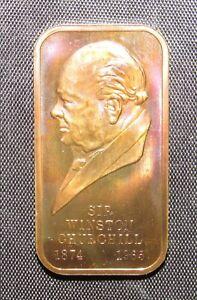 Winston Churchill Bronze Art Bar 1972