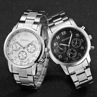 Mens Quartz-Watch stainless steel Analog Fashion Luxury Business Wrist Watches