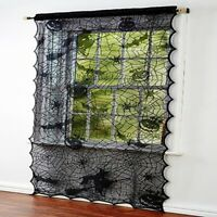 Halloween Black Lace Window Curtains Door Scary Cloth Party Decoration LP