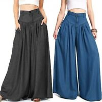 ZANZEA Women Pantalon Wide Legs Long Pants Casual High Waist Trousers Plus Size