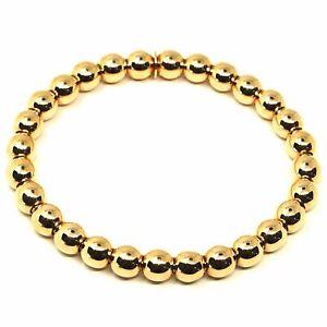 18K YELLOW GOLD BRACELET, SEMIRIGID, ELASTIC, BIG 6 MM SMOOTH BALLS SPHERES