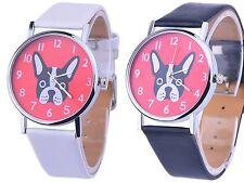Elegante Damenuhr Hunde Hund Damen Uhr Silber Weiss Schwarz Rot Neu