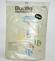 "Bucilla Needlepoint ""Going Fishing"" Canvas Baby Crib Mobile Craft Kit Sealed Vtg"
