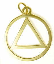 "Alcoholics Anonymous AA 14K Gold Recovery Jewelry Triangle Flat Pendant 1""Tall 4"