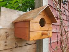 Hand made Wooden bird house stained & treated small birds nest box