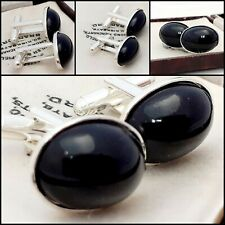 Vintage - 1970s Black Glass Cabochon - Oval Silver Plated Cufflinks