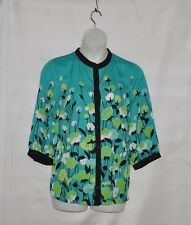 Bob Mackie Floral Print Mandarin Collar Blouse with Trim Size 1X Turquiose Multi