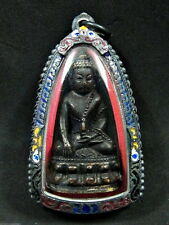 Buddha 'Phra Kring LP Prom BE2510' Figure Bell Stamp Thai Bronze Statue Amulet