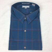 New Vintage Yves Saint Laurent Men's XL Shirt Blue Plaid Button Up 80s, 90s VTG