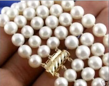 "3 Rows 8-9mm NATURAL AKOYA WHITE PEARL NECKLACE 17""-19"" 14K Gold Clasp"