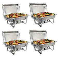 4 Chafing Dish 8qt Food Chafer Steel Catering Set Buffet Server Warming Tray Lid