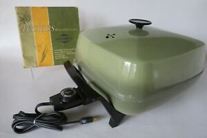 Vintage West Bend Automatic Buffet Electric Skillet Avocado Green w Recipes