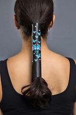 "Hair Glove® 8"" Leather Turquoise Butterflies w/Gemstones 11865 Ponytail Holder"