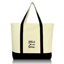 DALIX Filled With Love Cute Cotton Tote Bag