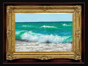 "ORIGINAL Oil Painting Handmade Arseni ~ SEA 6"" X 4"" NO FRAME Artist Art3"