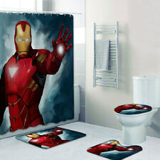 Iron Man Bathroom Mat Shower Curtain 4PCS Non-Slip Foot Mat Toilet Lid Cover Rug