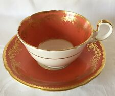 ELEGANT AYNSLEY RUST GOLD CUP & SAUCER, GOLD SCROLLS LEAVES C867