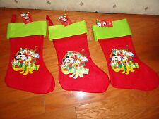 "3 CHRISTMAS DISNEY HOLIDAY FELT STOCKINGS W/PICTURES.   15""."