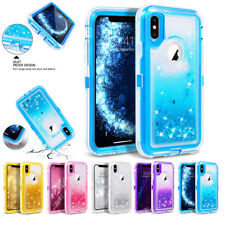 For Apple iPhone X XS MAX Bling Liquid Glitter Holster Case Fits Otterbox Clip