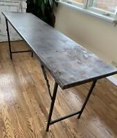 Vintage Metal Industrial Folding Table Console Table