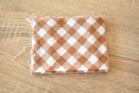 FQ Fabric Lt Brown Check Gingham 50x54cm Cotton Quilting Home Decore Crafts