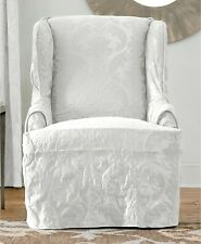 Sure Fit Matelasse Damask Wing Chair Cotton Blend Slipcover - White