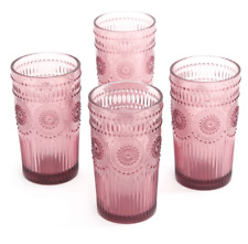 New The Pioneer Woman Drinking Glasses 16-Ounce Glass Tumbler Set of 4 Plum