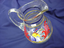 Vintage Very Rare Bohemian Czech Mouth Blowing Signed Glass Pitcher Hand Painted