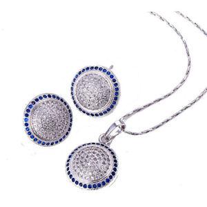 Luxury Ladies Necklace Pendant Stud Earrings SET Cubic Zirconia Platinum plated
