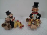 Set Of 2 Vintage Hobo Decanters Made In Japan 1950's Man Cave Bar