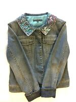Women's Antonio Melani Sequinned Blue Jean Denim Jacket Size 6