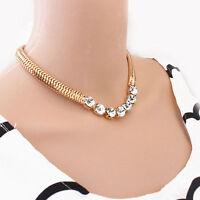 Crystal Flower Bib Statement Necklace Chunky Choker Collar Pendant Chain