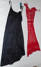 VINTAGE Knit Red Dress Vanity Slip Black Small