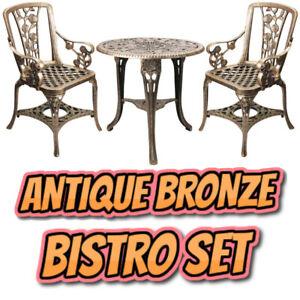 Antique Bronze Effect Garden Table and Chairs Bistro Set Weatherproof 3 Piece