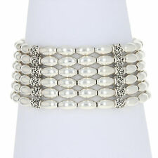 "Michael Dawkins Six-Strand Beaded Bracelet 7"" - Sterling Silver Toggle Clasp"