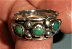 VINTAGE NAVAJO 3 GREEN TURQUOISE STERLING SILVER RING WEDDING BAND vafo