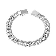 Mens 18K White Gold Plated Curb Chain Bracelet