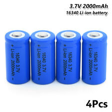 16340 Battery 3.7V 2000mAh Li-ion Rechargeable Cell For Flashlight Torch 4Pcs 5