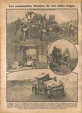 Belgique Belgium Automobile Blindée Bataille Flandres Armoured fighting 1916 WWI