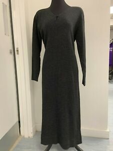 Laura Ashley Grey Wool Maxi Dress - Size Large