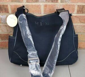 Pottery Barn Black Canvas Leather Large Shoulder Tote Diaper Bag Handbag