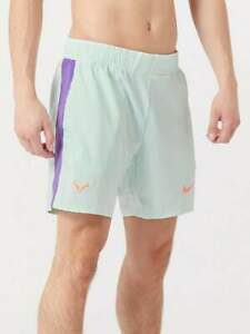 "Nike Court Rafa 7"" Tennis Shorts Barley Green Mango Purple Nadal Large"