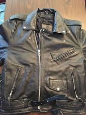 Black Cafe Racer Leather Jacket with Skull Cross Bones – Size: Men's 44 NICE!
